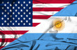 Waving flag of Argentina and USA