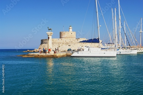 Rhodes, View of the Mandraki harbor