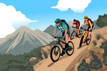 Mountain Bikers In The Mountain