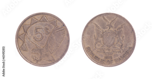 Poster  Old five dollar coin, Namibian currency