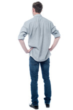 Back Pose Of Smart Young Guy
