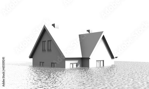 Fotografie, Obraz  Huis en hypotheek onder water