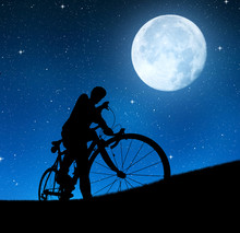 Silhouette Of The Cyclist On A...