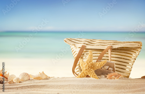 Printed kitchen splashbacks Light blue Summer beach with bag and shells