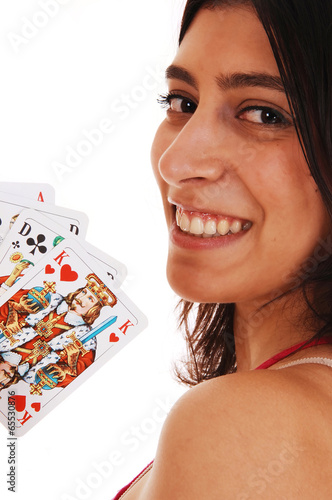 Woman playing cards. плакат