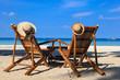 Beach chairs on tropical sand beach in Boracay, Philippines