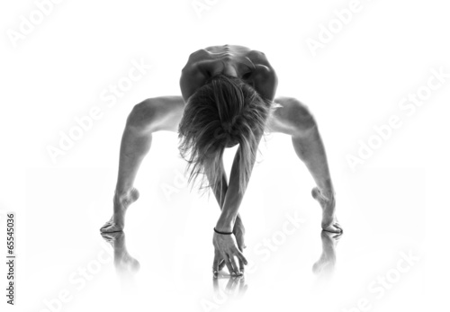 Artistic nude in black and white over isolated background