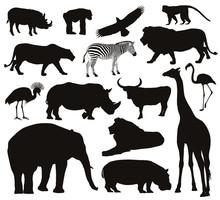Animals Silhouettes Set. Vector Illustration. EPS 8