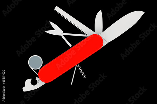 Foto  Multipurpose pocket knife. Military red knife