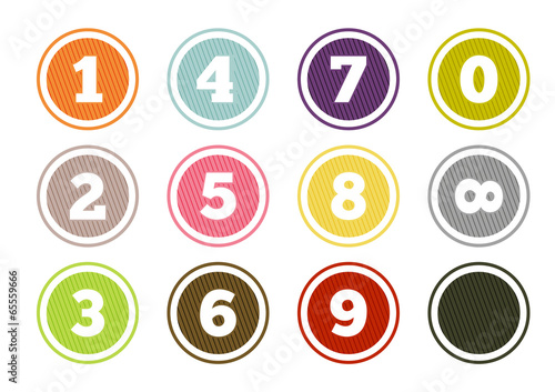 Fotografering Colorful number buttons set