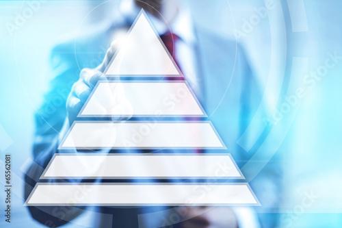 Carta da parati Hierarchy on needs pyramid concept pointing finger