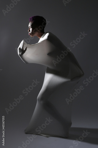 Shapely Woman in Creative Light and Spandex Fabric Canvas-taulu