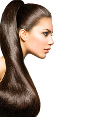Fototapeta Do fryzjera Ponytail Hairstyle. Beauty with Long Healthy Straight Brown Hair