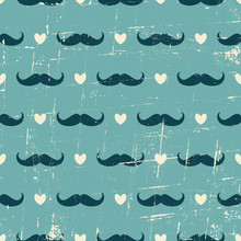 Seamless Mustache And Hearts B...