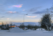 Nacreous Clouds Over The Stromsund In Winter Sunset, Sweden