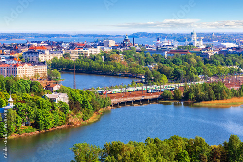 Canvas Print Aerial panorama of Helsinki, Finland