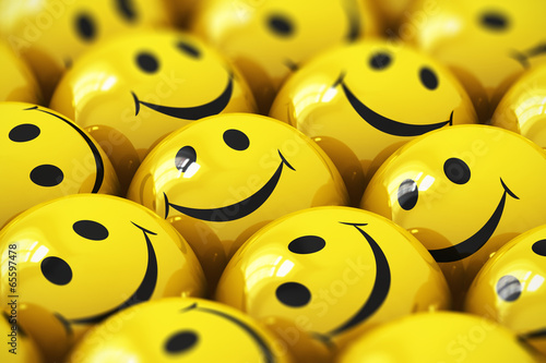 Fotografie, Obraz  Happy yellow smileys