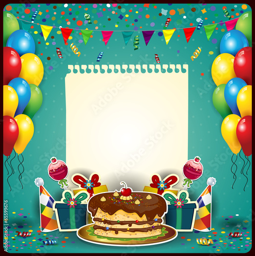 Happy birthday with a sheet of paper Poster