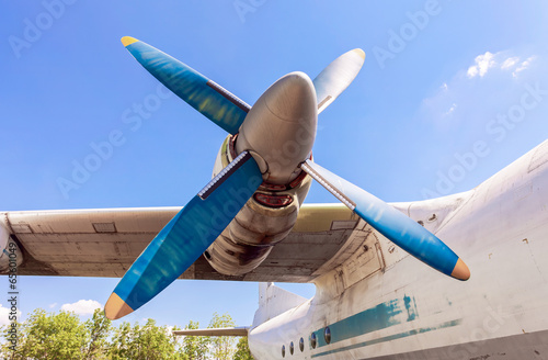 Fotografia, Obraz  Old russian turboprop aircraft at the abandoned aerodrome in sum
