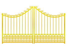 Isolated Closed Golden Gate Fence On White Vector