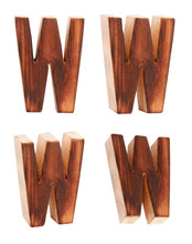 English Alphabet  W - Collage Of 4 Isolated Vintage Wood