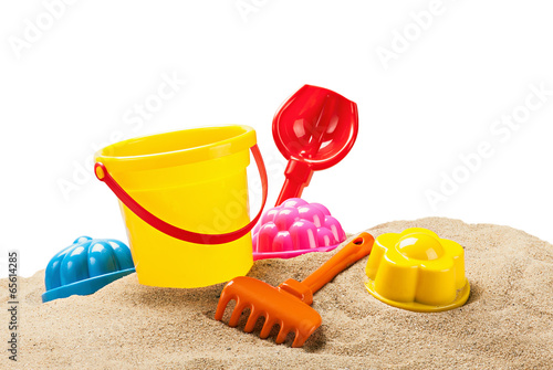 toys for sandbox isolated on white Canvas Print