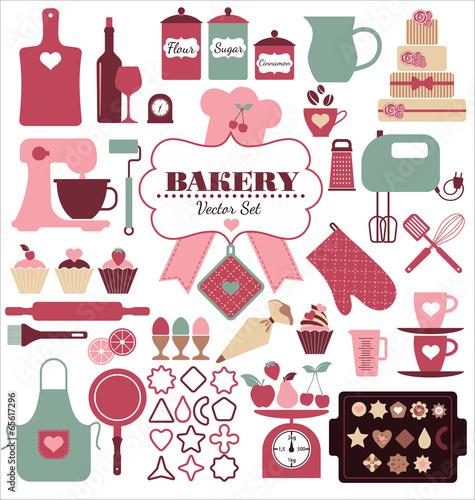 Fotografie, Obraz  Bakery icons set. Vector elements for your design.