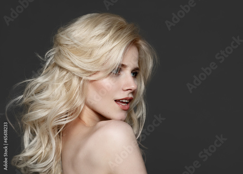 Fotografie, Obraz  Portrait of beautiful young blond woman with clean face.