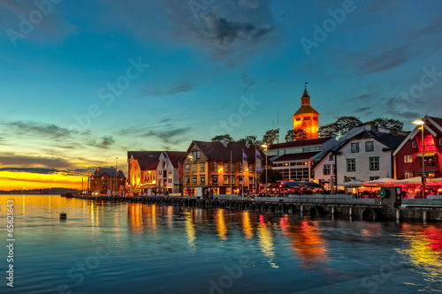 Stavanger at night - Charming town in the Norway. © Nightman1965