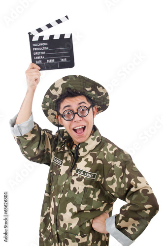 Canvas Prints Military Funny soldier with movie board isolated on the white