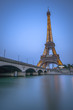 Long Exposure of Eiffel Tower and Seine River at Dusk