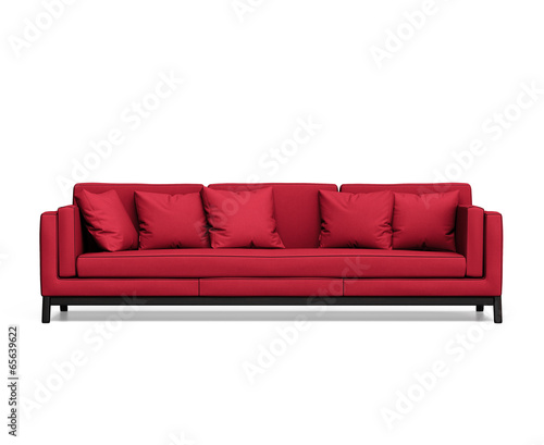 Isolated contemporary red sofa with cushions - Buy this ...