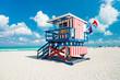 canvas print picture - Lifeguard hut in South Beach, Miami