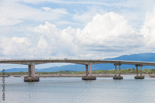 Long bridge in thailand and blue sky background Poster
