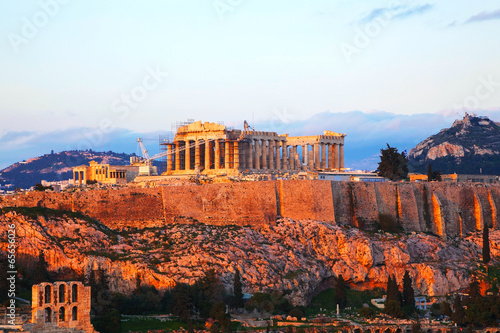 Fotobehang Athene Acropolis in Athens, Greece in the evening