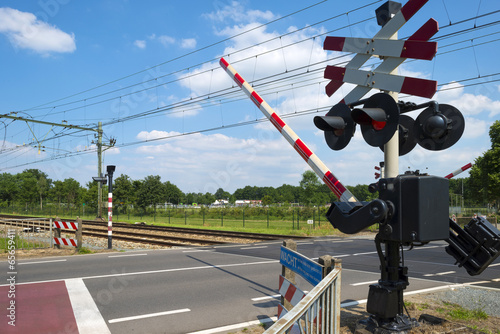 Valokuva  Closing barriers of a rail crossing