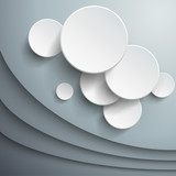 Abstract background with 3d  vector waves and circles.