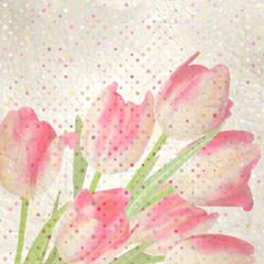 FototapetaRetro floral with polka dot tulips. EPS 10