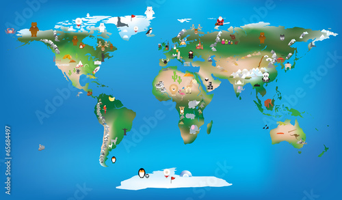 Acrylic Prints World Map world map for childrens using cartoons of animals and famous lan