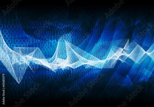 Fotobehang Fractal waves Glowing figures and waves. Hi-tech background