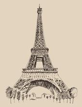 Eiffel Tower In Paris Architecture, Engraved Illustration
