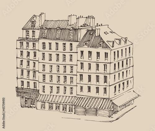 Paris France, city architecture, vintage engraved illustration Canvas Print