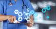 Leinwanddruck Bild - Medicine doctor hand working with modern computer interface as m