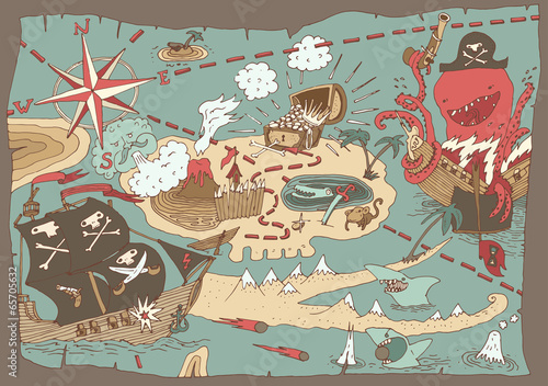 Island Treasure Map (pirate map), vector illustration