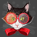 Portrait of a calico cat in red glasses and a bow - 65706292