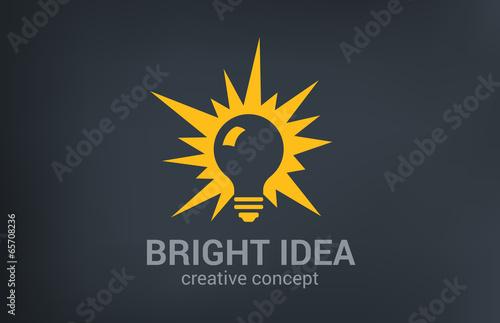Photo  Creative bright new idea vector logo design. Light bulb