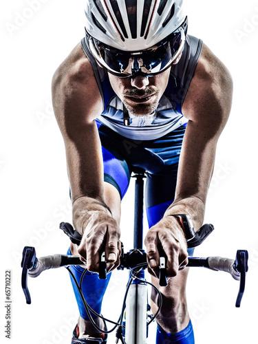 man triathlon iron man athlete cyclist bicycling - 65710222