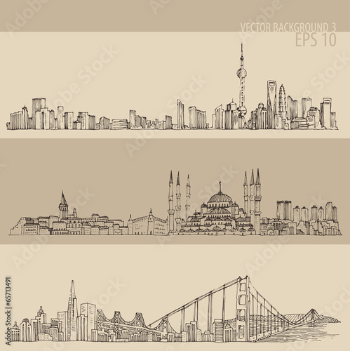 Shanghai, Istanbul, San Francisco, engraved illustration Poster