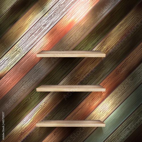 Fotografie, Obraz  Empty shelf for exhibit on wood background. EPS 10