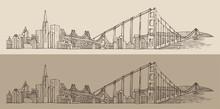 San Francisco, City Architecture, Engraved Illustration